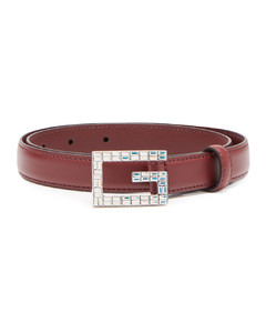 GG crystal-embellished leather belt