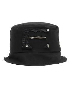 Distressed embellished bucket hat
