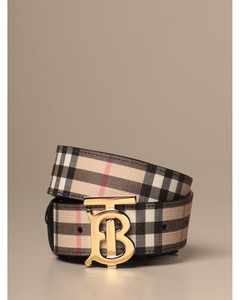 e-canvas belt with vintage check motif and monogram