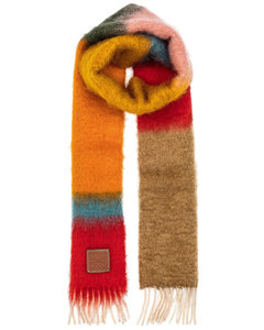 Striped Mohair Scarf in Pink,Orange
