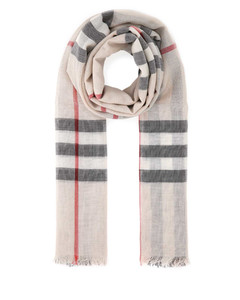 Embroidered wool blend scarf Checked Burberry Donna
