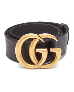 GG-logo raw-edge leather belt