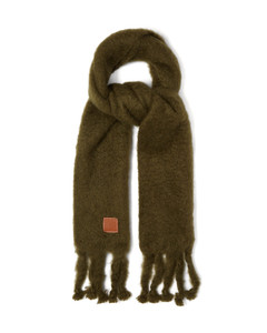 Anagram-patch oversized mohair-blend scarf
