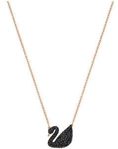 施华洛世奇黑天鹅系列镀玫瑰金色大码项链