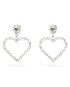 Crystal-heart drop clip earrings