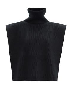 Roll-neck wool-blend bib