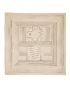 海军蓝嵌花针织条纹手套
