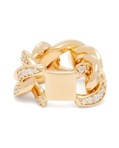 Pavé-crystal gold-plated sterling-silver ring
