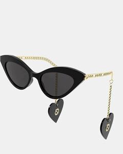 Women's Cat Eye Acetate Frames with Charm Sunglasses - Black/Gold/Grey