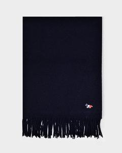 Tricolor Fox Wool Scarf In Dark Navy Wool