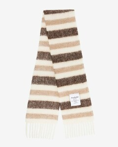 white and brown Vivianne striped scarf