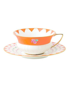 Wonderlust Peony Diamond Teacup and Saucer