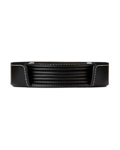 黑色皮革杯垫套装10cm x 6