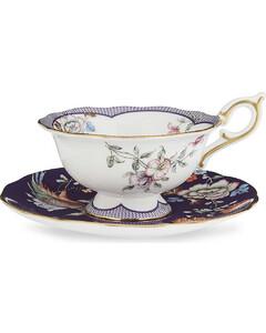 Wonderlust Midnight Crane china teacup and saucer