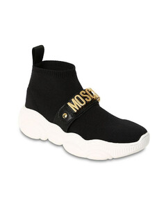 Logoed Leather Strap Knit Sock Sneakers