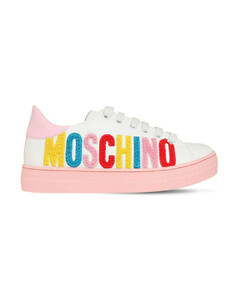 Teddy Logo Lace-up Leather Sneakers