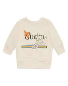 crewneck sweatshirt with smile print
