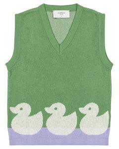 鸭子嵌花针织棉质针织背心
