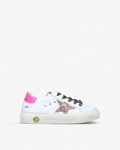 May School logo-print leather trainers 3-5 years
