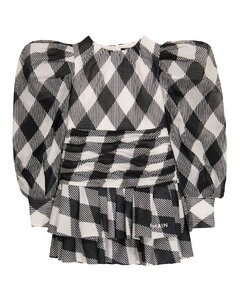 格纹棉质连衣裙