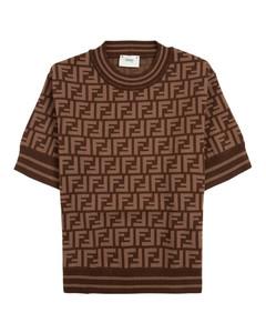 Brown T-shirt In Ff Viscose Blend