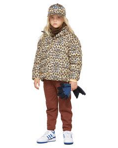 黄褐色Glitch豹纹儿童填充夹克