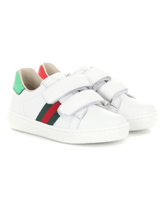 Web leather sneakers