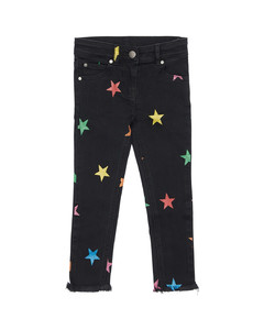 Star Print Stretch Denim Jeans