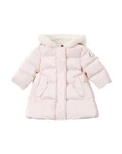 Glassy Nylon Down Coat W/ Faux Fur