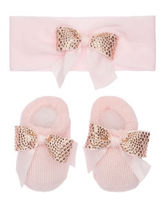Cotton Knit Headband & Socks W/bows