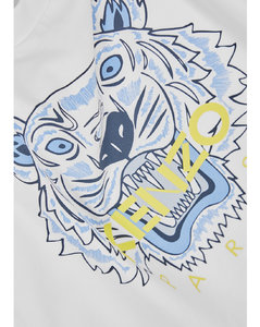 Navy blue stretch-cotton logo-patch hooded jacket from moncler enfant featuring logo patch at the chest, classic hood, l