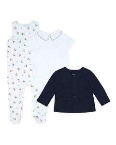 Cotton onesie, bodysuit and cardigan set