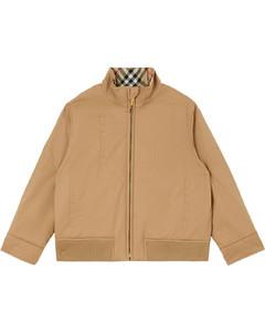 Check Print Hooded Nylon Down Coat