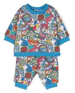 粉色Fenez条纹有机棉婴儿连体衣