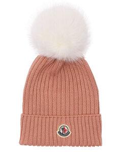 Virgin Wool Knit Beanie Hat W/ Pompom