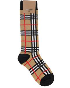 格纹棉混纺针织袜子