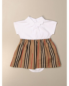 cotton dress with vintage striped skirt