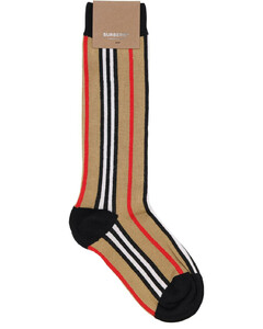 Icon Striped Cotton Blend Knit Socks