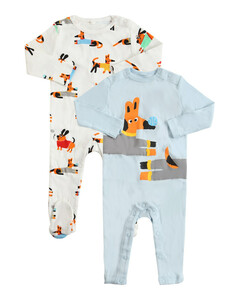 Set Of 2 Printed Organic Cotton Rompers