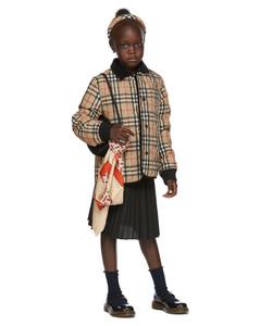 驼色Vintage Check绗缝儿童夹克