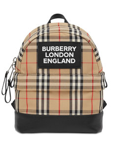 Check Cotton Canvas Backpack