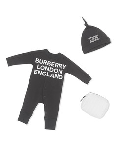 logo print two-piece babygrow set