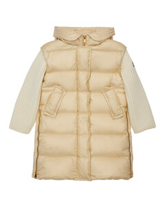 Katife Hooded Nylon Down Coat