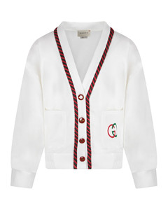 White Kids Cardigan With Double Gg