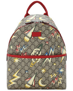 Gg Supreme Space Printed Canvas Backpack