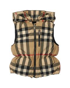 Check Hooded Nylon Down Vest