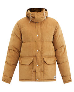 Sierra hooded quilted down cotton-corduroy jacket