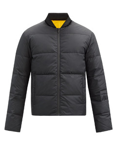 Reversible logo-appliquéquilted down jacket