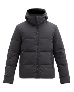 Reversible logo-patch quilted down jacket