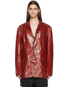 红色蛇纹皮革西装外套